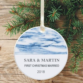 First Christmas Married Keepsake Decoration - Blue Marble Design